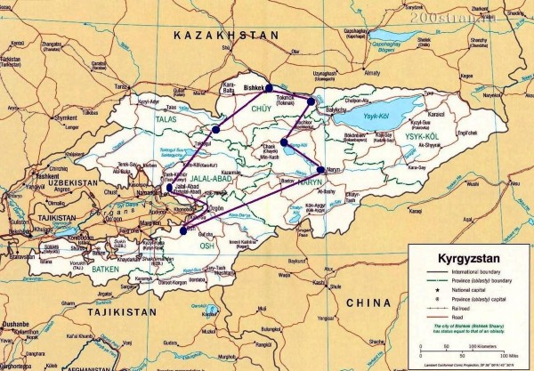 Ethnographic Tour In Kyrgyzstan Map