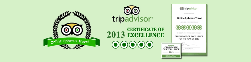 Tripadvisor 2013 Certificate Of Excellence, Online Ephesus Travel, Ephesus Tours, Turkey Ephesus Tours, Kusadasi Turkey, Ephesus Turkey Tours