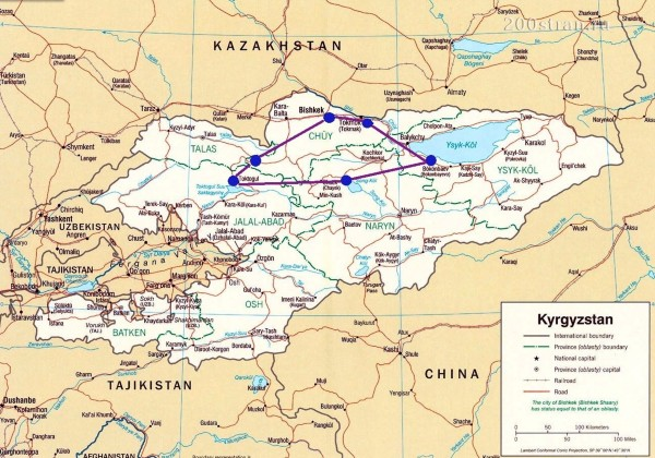 The Kyrgyz Nomads Tour Map