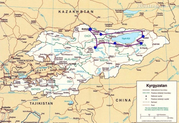 The Lakes of Kyrgyzstan (Kirgisistan) Tour Map